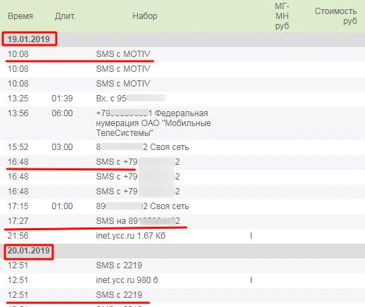 Подробная детализация счета в ЛК ЛИСА Мотив